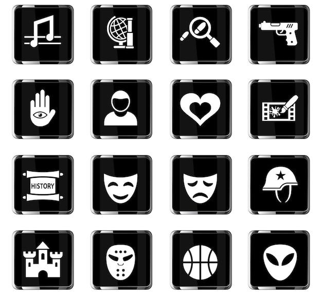 Ícones da web de gênero de cinema para design de interface de usuário
