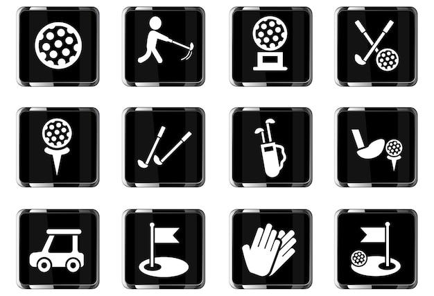 Ícones da web de golfe para design de interface de usuário