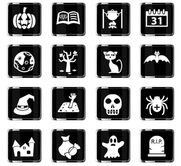 Ícones da web de halloween para design de interface de usuário