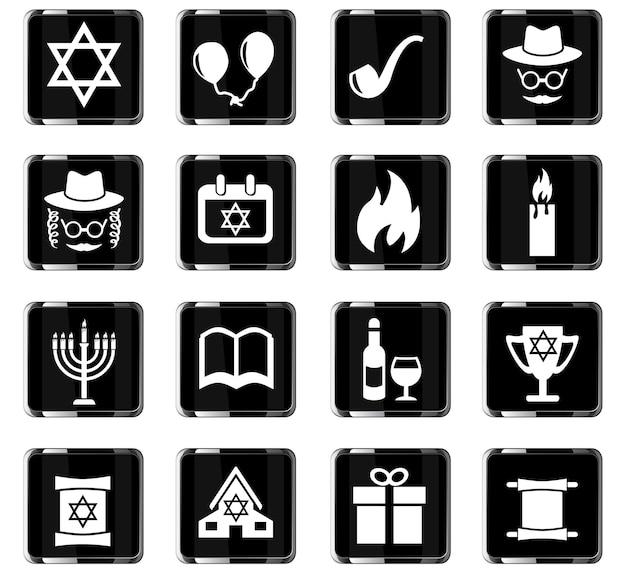 Ícones da web de hanukkah para design de interface do usuário