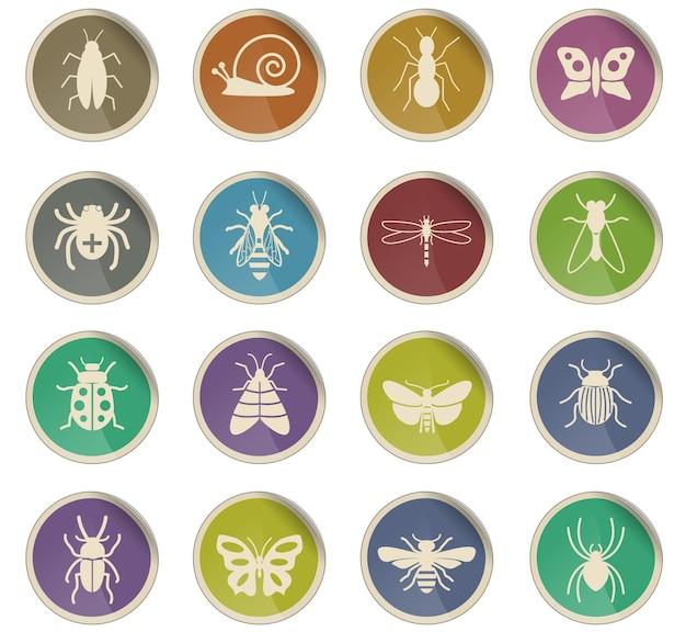 Ícones da web de insetos na forma de etiquetas de papel redondas
