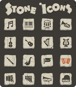 Ícones da web de instrumentos clássicos em blocos de pedra no estilo da idade da pedra para design de interface de usuário