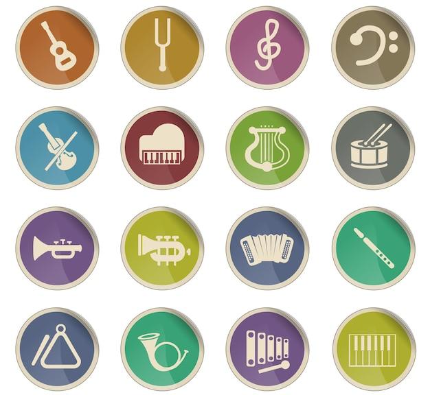 Ícones da web de instrumentos clássicos na forma de etiquetas de papel redondas