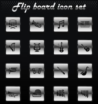 Ícones da web de instrumentos clássicos para design de interface do usuário