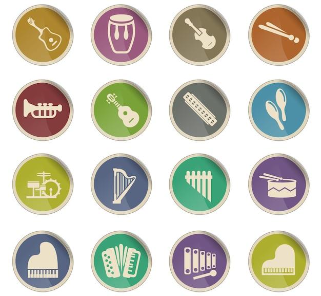 Ícones da web de instrumentos musicais na forma de etiquetas redondas de papel