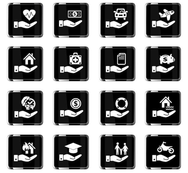 Ícones da web de mão de seguro para design de interface de usuário
