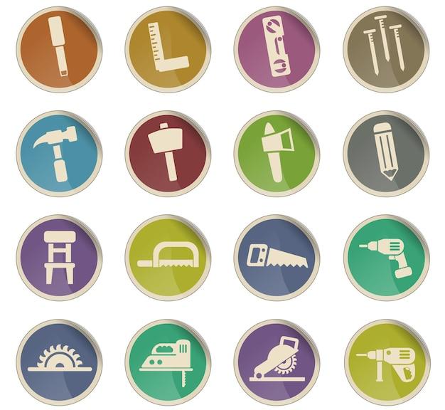 Ícones da web de marcenaria na forma de etiquetas de papel redondas
