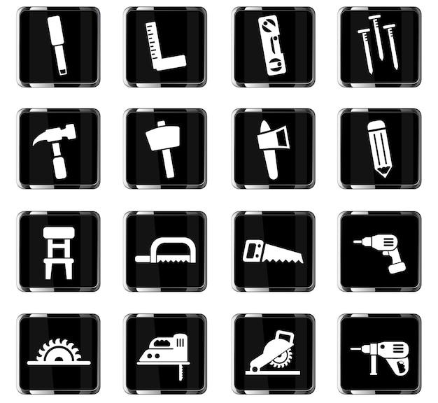Ícones da web de marcenaria para design de interface do usuário