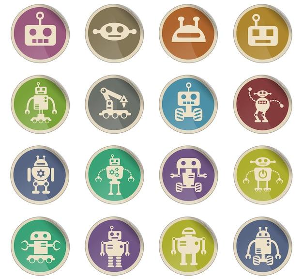 Ícones da web de robôs na forma de etiquetas redondas de papel
