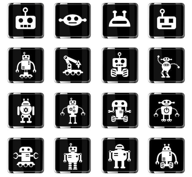 Ícones da web de robôs para design de interface de usuário