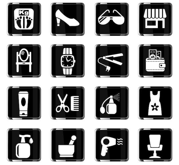 Ícones da web de salão de beleza para design de interface do usuário