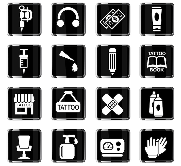 Ícones da web de salão de tatuagem para design de interface do usuário