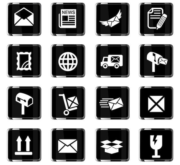 Ícones da web de serviço de postagem para design de interface do usuário