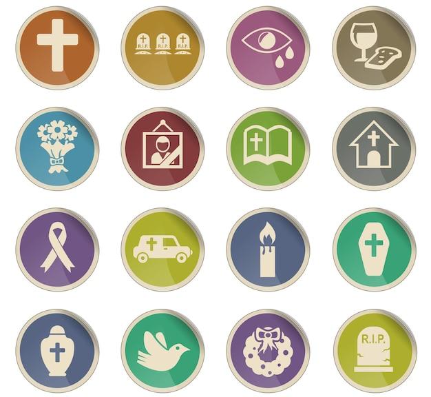 Ícones da web de serviços funerários na forma de etiquetas de papel redondas