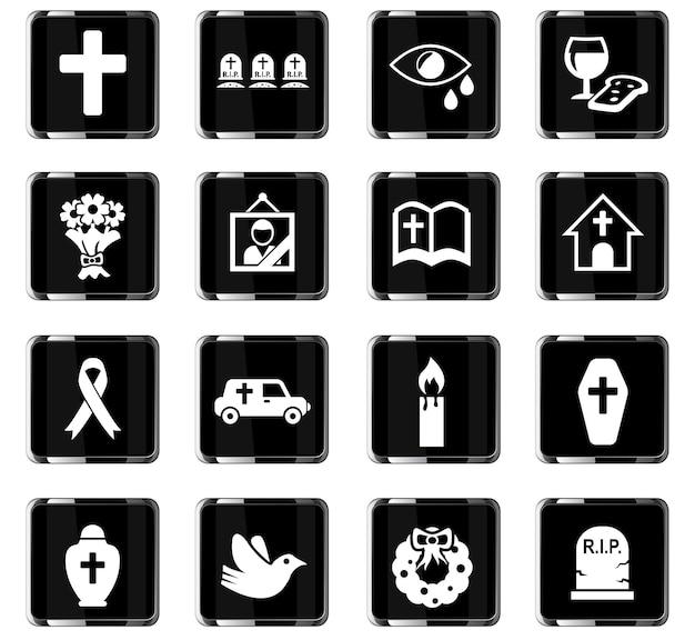 Ícones da web de serviços funerários para design de interface do usuário