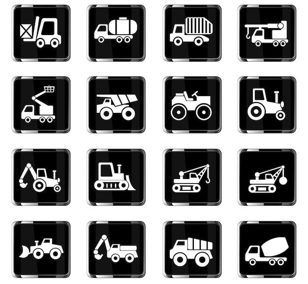 Ícones da web de transporte industrial para design de interface de usuário