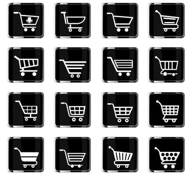 Ícones da web do carrinho de compras para o design da interface do usuário