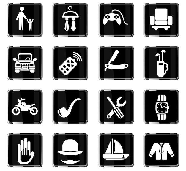 Ícones da web do dia dos pais para o design da interface do usuário