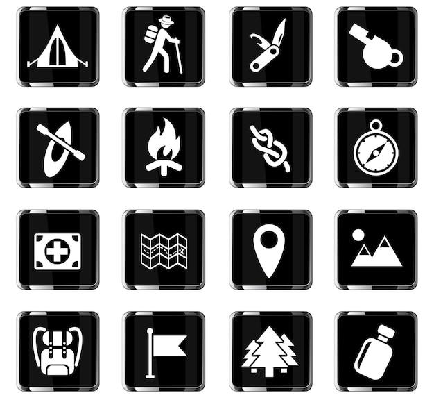 Ícones da web do dia dos skouts para o design da interface do usuário