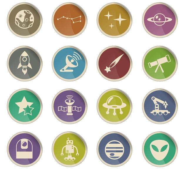 Ícones da web do espaço na forma de etiquetas de papel redondas