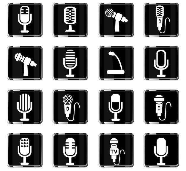 Ícones da web do microfone para o design da interface do usuário