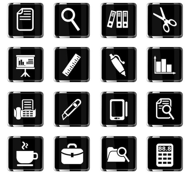 Ícones da web do office para design de interface de usuário
