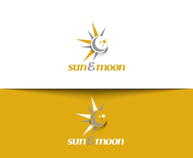 Ícones da web do sol e da lua e logotipo vetorial