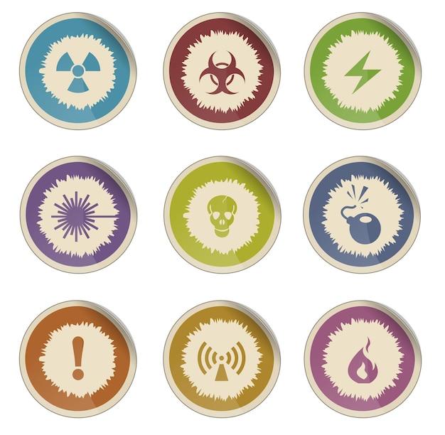 Ícones da web do vetor de sinais de perigo