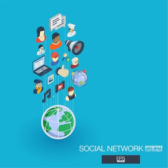 Ícones da web integrados da sociedade. conceito de progresso isométrico de rede digital. sistema de crescimento de linha gráfica conectado. abstrato para mídia social, comunicação de pessoas. infograph