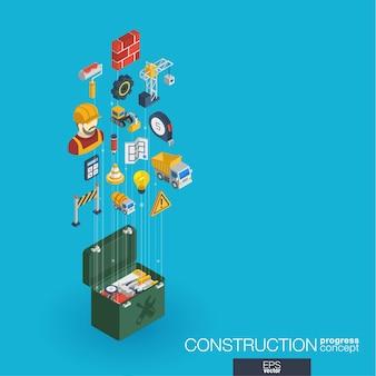 Ícones da web integrados de construção. conceito de progresso isométrico de rede digital. sistema de crescimento de linha gráfica conectada. abstrato para engenheiro, arquitetura, compilação. infograph