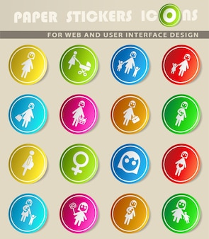 Ícones da web para mulheres para design de interface de usuário