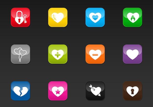 Ícones da web profissionais do coração para o seu projeto