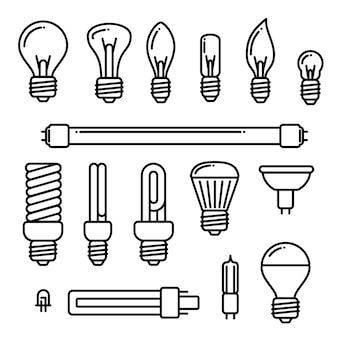 Ícones das ampolas do vetor no fundo branco. Conjunto de diferentes tipos de lâmpadas