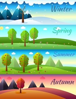Ícones das temporadas do tempo no fundo da ecologia da natureza.