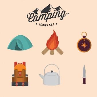 Ícones de acampamento ajustados