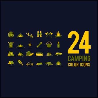 Ícones de acampamento amarelo e verde