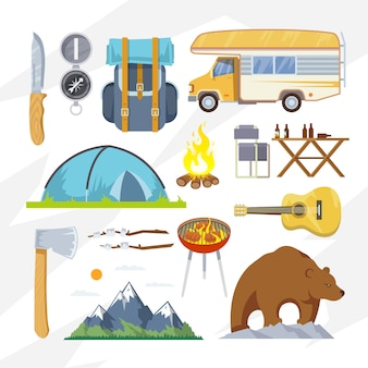 Ícones de acampamento plana de vetor