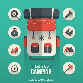 Ícones de acampamento planas