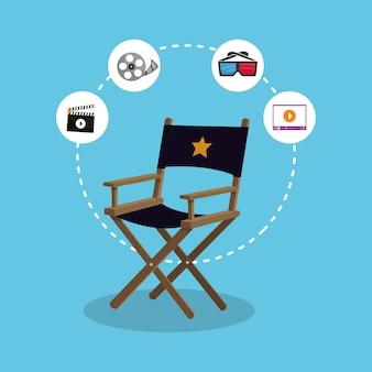 Ícones de ação do produtor diretor cadeira