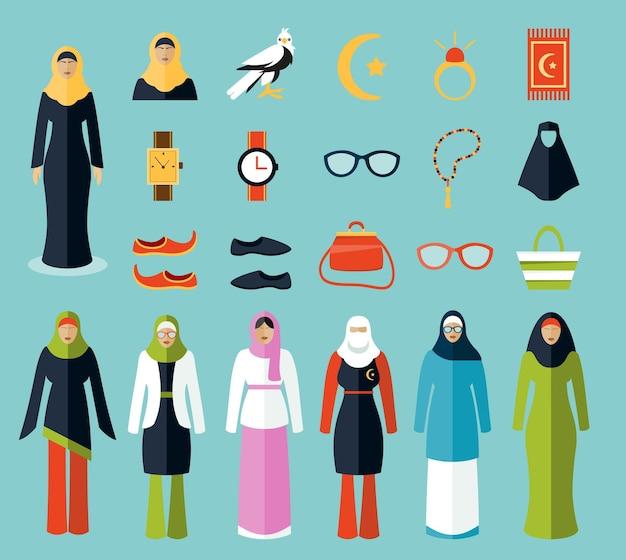 Ícones de acessórios e roupas de mulher árabe.