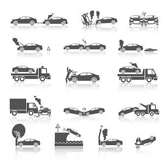 Ícones de acidente de carro preto e branco