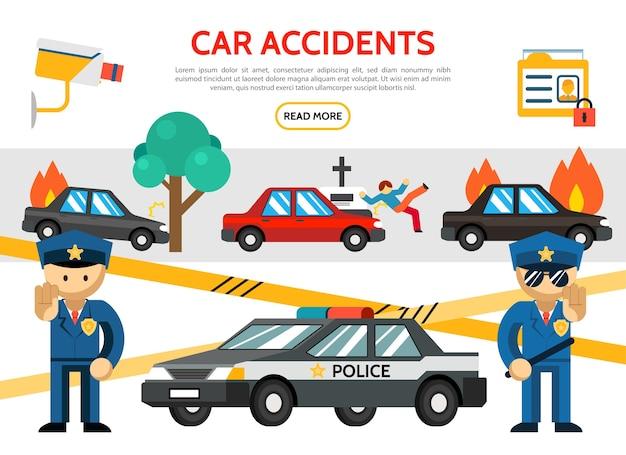 Ícones de acidentes rodoviários planos com acidente de carro queimando pedestre atingindo câmera de vigilância