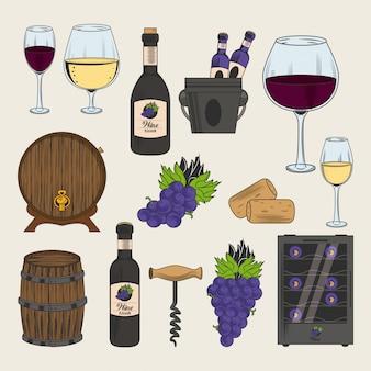 Ícones de adega e vinho
