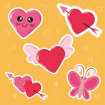 Ícones de adesivos de borboletas e asas de coração kawaii fofos