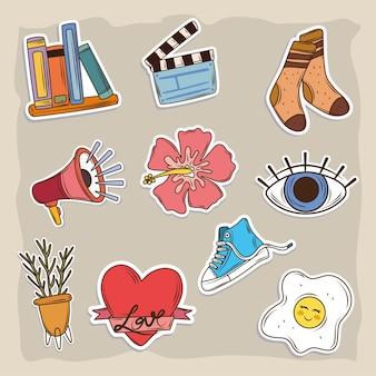 Ícones de adesivos de desenho animado