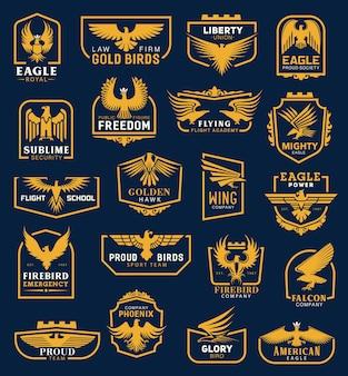 Ícones de águia, emblemas heráldicos, identidade corporativa