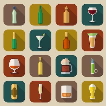 Ícones de álcool plana