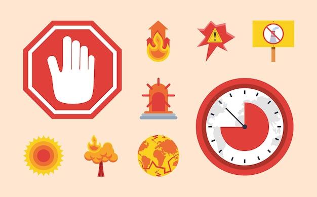 Ícones de alerta de aquecimento global