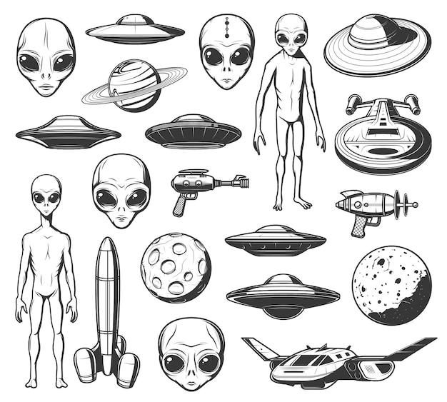 Ícones de alienígenas, ovnis e ônibus espaciais com corpo magro e olhos enormes