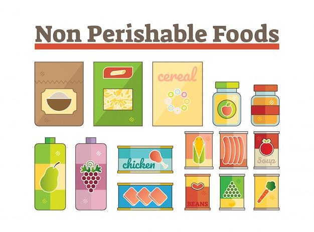 Ícones de alimentos não perecíveis conjunto de vetores planos